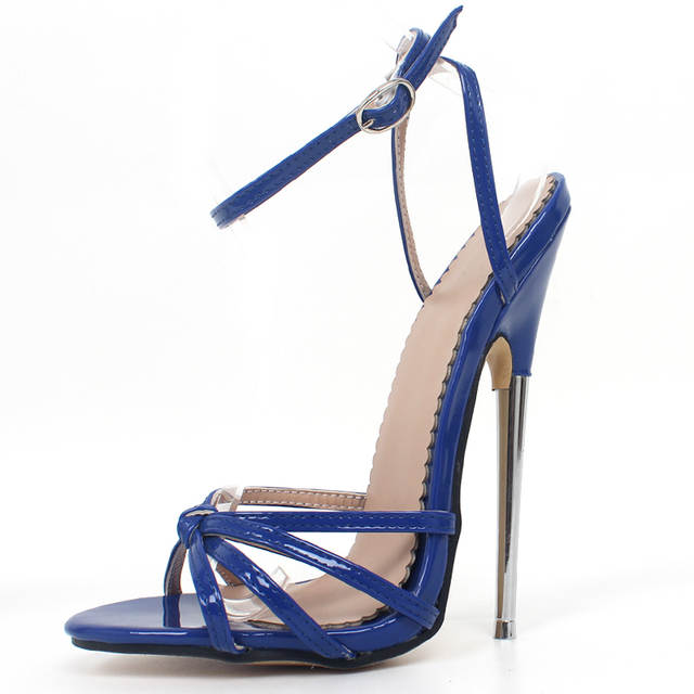 08939809778 Fetish High Heels Sandals Women Fashion Ankle Strap Pointed Toe Shoes Metal  Thin Heels Buckle Strap High-Heeled Unisex Shoes