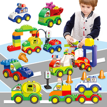 55/63 pcs Cars Model Police Big Size Building Blocks Car Educational Learning Toys For Children Compatible With LegoED DuploED цены