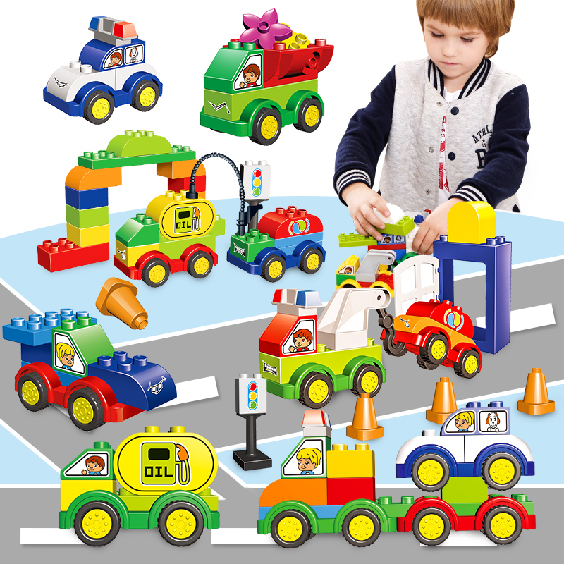New54/60 PCS Car Model Police/Oil Car Big Bricks Building Blocks Baby Toy Educational Toys Compatible With Legoed Duploed big bricks building blocks base plate 51 25 5cm 32 16 dots baseplate diy bricks toy compatible with major brand blocks
