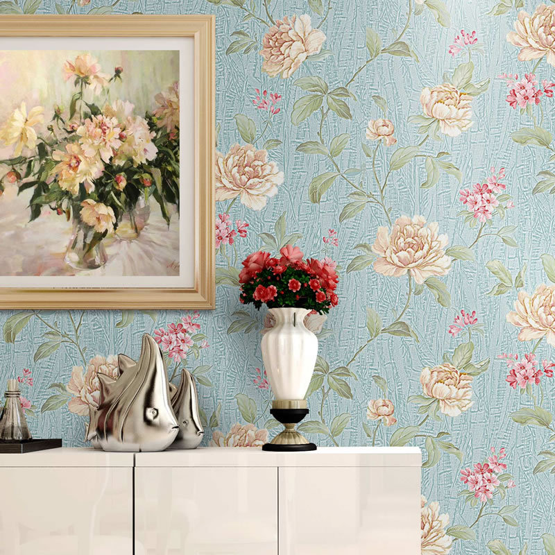 European Style 3D Stereo Pastoral Flowers PVC Embossed Wallpaper Living Room Bedroom Cozy Warm Home Decor Tapety Papel De Parede beibehang stereo 3d nonwoven fabric wallpaper warm bedroom living room full of european style pastoral flowers wallpaper behang