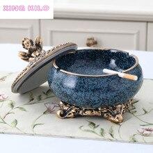 European luxury living room ceramic ashtray personality fashion decoration creative gift office high-grade resin