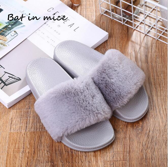New Women Casual Slip-On Shoes Slippers Fashion Spring Autumn women Indoor Plush Faux fur Flip Flops Flat Shoes Slippers W278 pink bow slippers women hot spring flower home cotton plush indoor floor flip flops flat shoes pantuflas pantofole donna chinelo