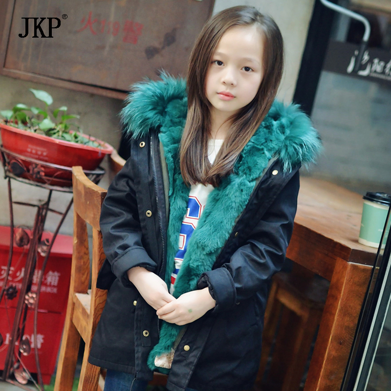 JKP Fur coat boys and girls big raccoon fur  collar children rex rabbit fur Jackets plus cotton coat children's clothing CT-15 new winter girls boys hooded cotton jacket kids thick warm coat rex rabbit hair super large raccoon fur collar jacket 17n1120