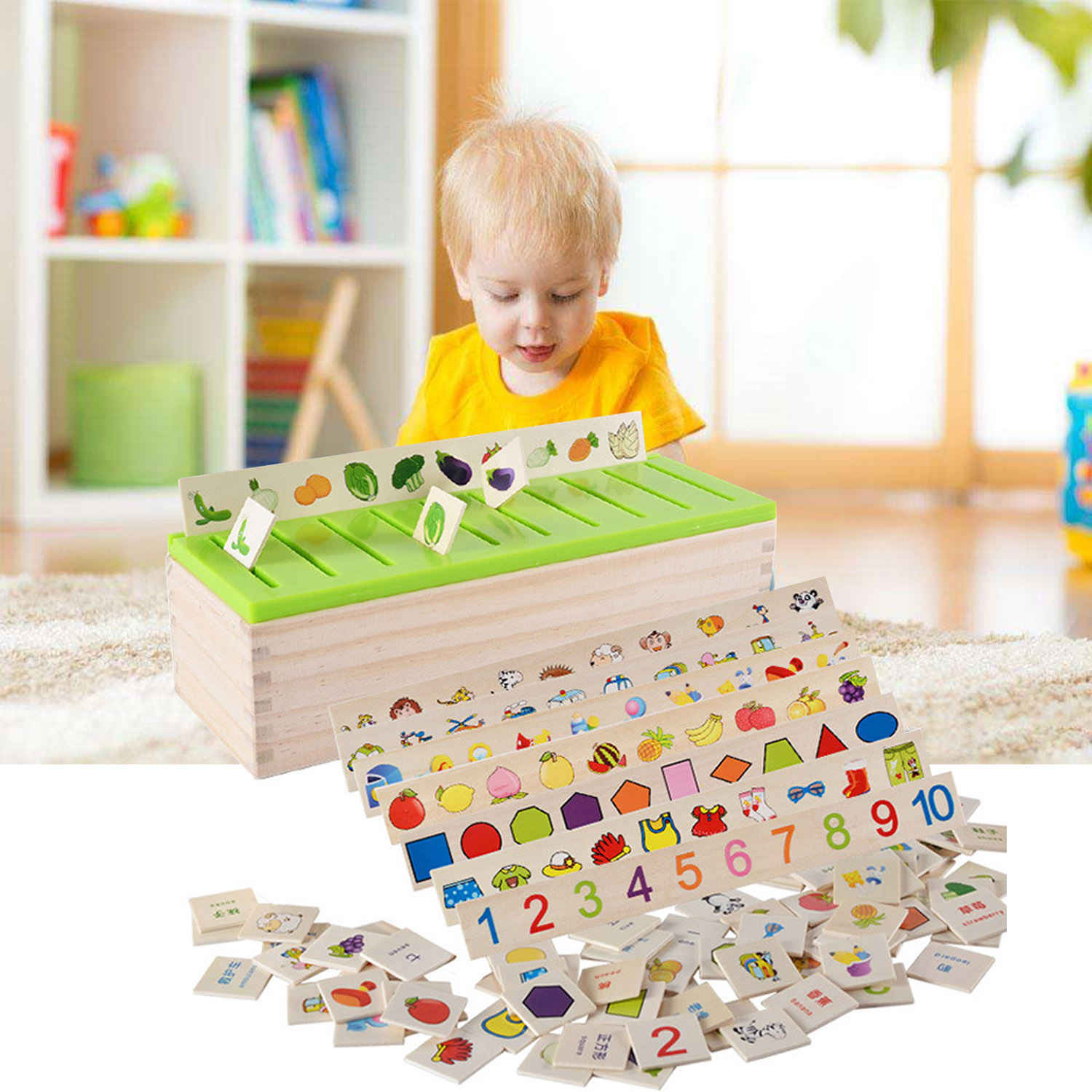 Besegad Montessori Early Educational Puzzle Toy Wood Sorting Classification Matching Box Kids Number Fruit Chinese Cognitive Toy