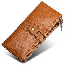 Moxi длинный женский кошелек, складные женские кошельки, натуральная кожа, клатч, Женский кошелек на молнии из воловьей кожи, Женский держатель для карт, кошелек для телефона