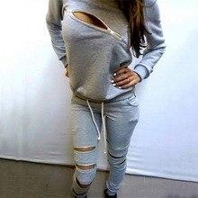 Le donne A Due Pezzi Set Tute Top e Pantaloni Pullover Felpe Set Felpa A Maniche Lunghe Grigio Nero Sporting Vestito Casual Femminile