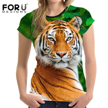 FORUDESIGNS Unicorn Tiger Female T Shirts Women Short Sleeved t-shirt ladies Tops Bodybuilding Slim Female Shirt Woman Clothes