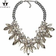FORMU European & USA Big Exaggeration Fashion High Quality Acrylic Flower Lady Boutique Pendant Necklace Jewelry NK182