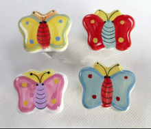 4pcs lot European style colorful butterflies hand colored ceramic handle bedside cabinets drawers wardrobe door handles