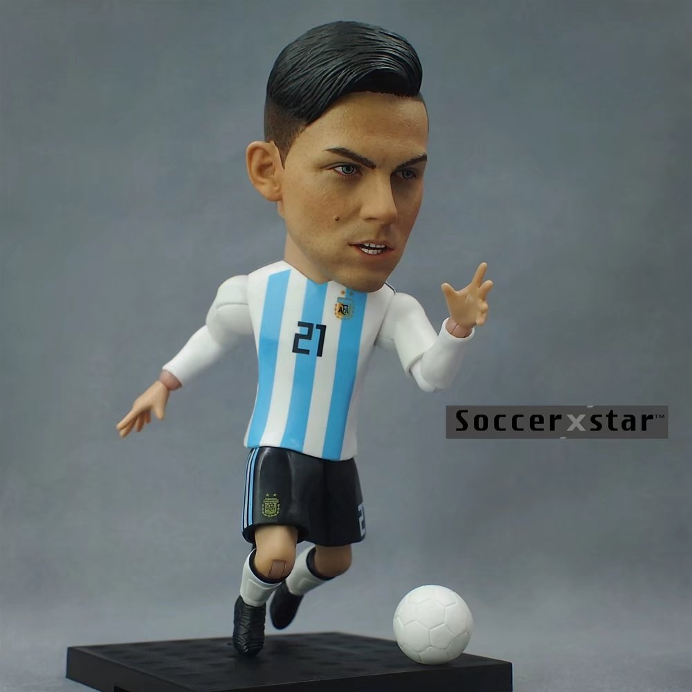 Soccerxstar Figurine Football Player Movable Dolls 21# DYBALA (ARG 2018) 12CM/5in Figure BOX include Accessories soccerwe dolls figurine football stars 17 18 7 c ronaldo movable joints resin model toy action figure dolls collectible gift