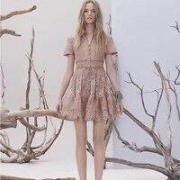 Новая Европа новый сезон весна лето шоу тонкий хлопок элегантный темперамент шить кружевное платье с лацканами решение