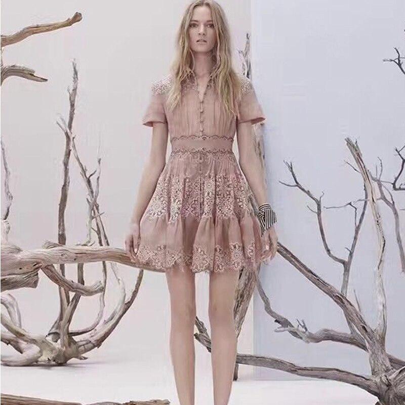 Nuova Europa nuova primavera e l' estate mostra cotone sottile elegante temperamento abito di pizzo cucitura Risvolto soluzione