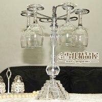 married European wine cup holder new elegant silver crystal glasses rack hanging upside down frame glass goblet ornaments