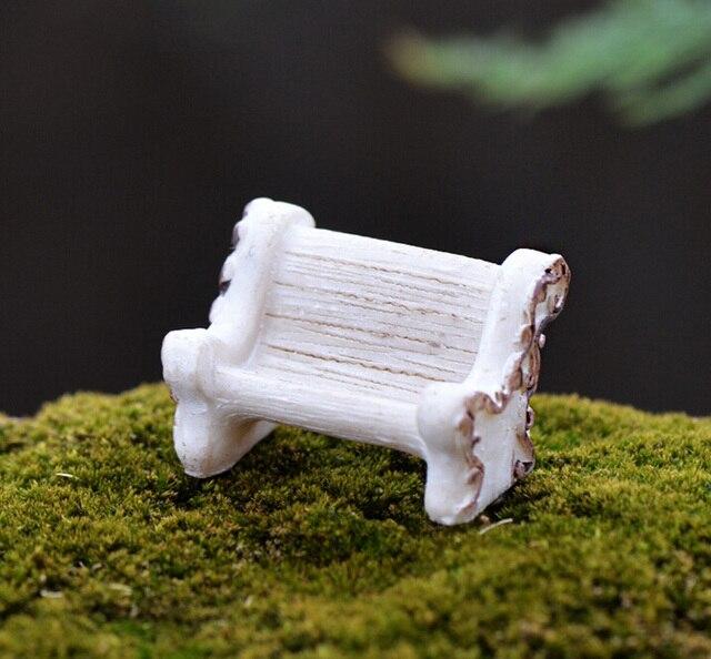 White Chair Miniature figures decorative mini fairy garden animal statue Home Desktop Gift Moss ornaments resin craft TNB069