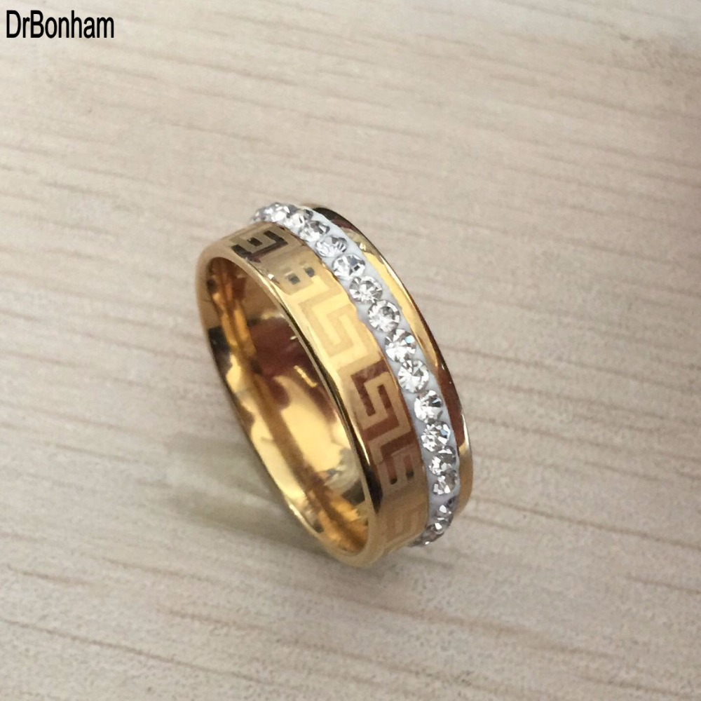 Besteel Mens Stainless Steel Band Ring Engraved Greek Key Vintage Wedding alliance 8mm gold filled Size 6-14