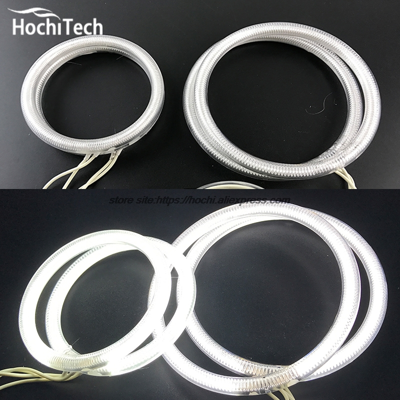 HochiTech WHITE 6000K CCFL Headlight Halo Angel Demon Eyes Kit angel eyes light for Fiat Linea 2007 to 2015