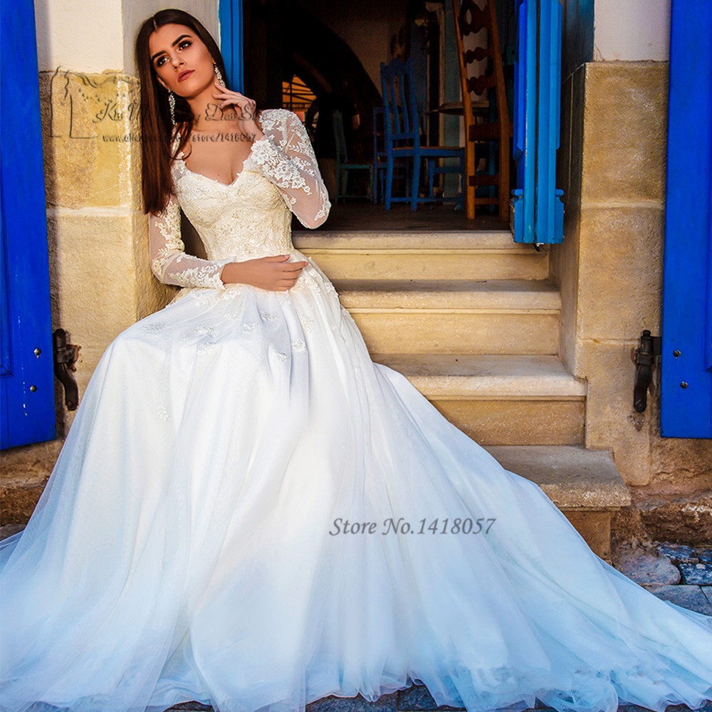 Rustic Wedding Dresses: Greek Long Sleeve Wedding Dress Lace A Line Bride Dresses