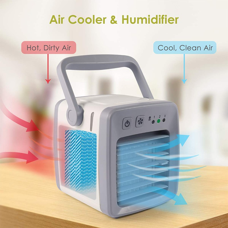 4 In 1 Mini USB Personal Air Conditioner Personal Air Cooler Humidifier Purifier Desktop Cooling Fan 3 Speeds Office Household