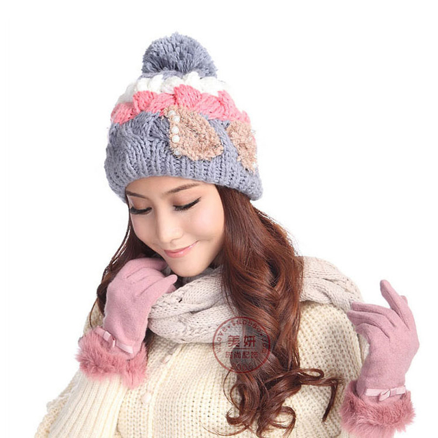afcf74d8bb 2016 Winter Women Thermal Millinery Knitting Hairball With Beads Hat Woolen  Knit Cap Female Lovely Knitted Hats Free Shipping