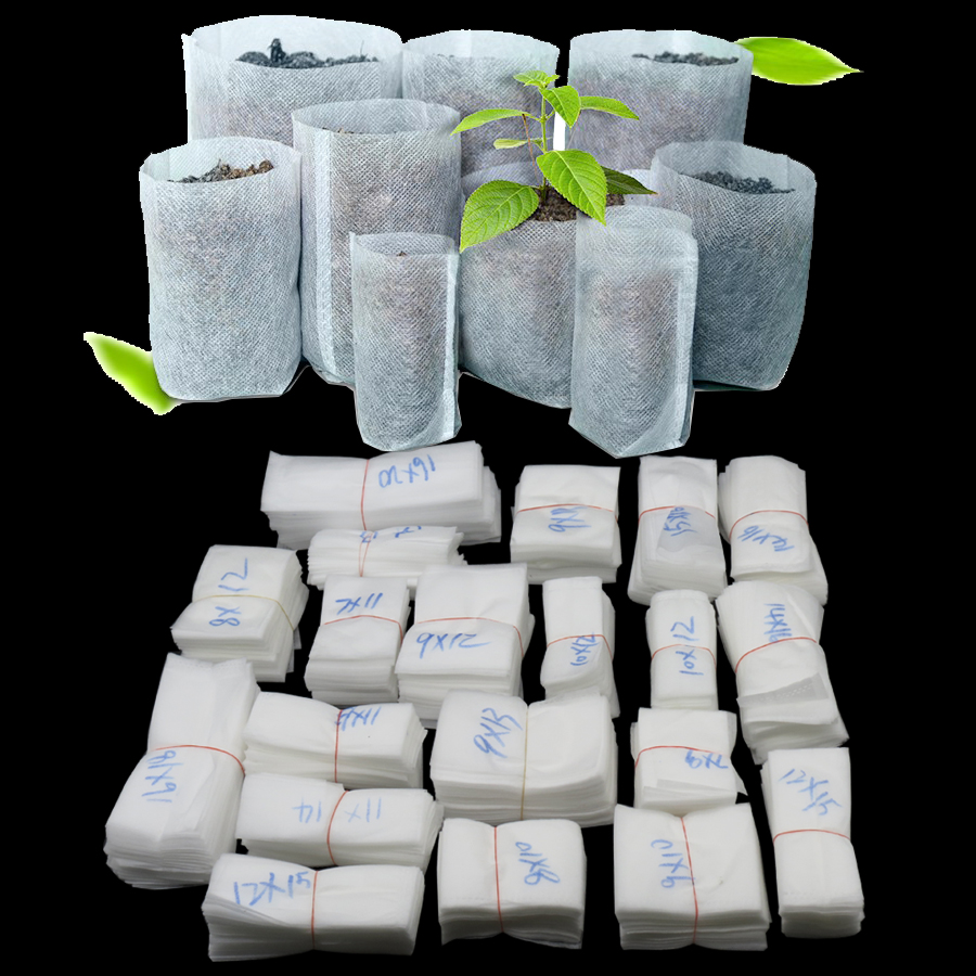 100pcs/Set Different Sizes Biodegradable Non-woven Nursery Bag Plant Grow Fabric Seedling Pots Eco-Friendly Aeration Plantin Bag