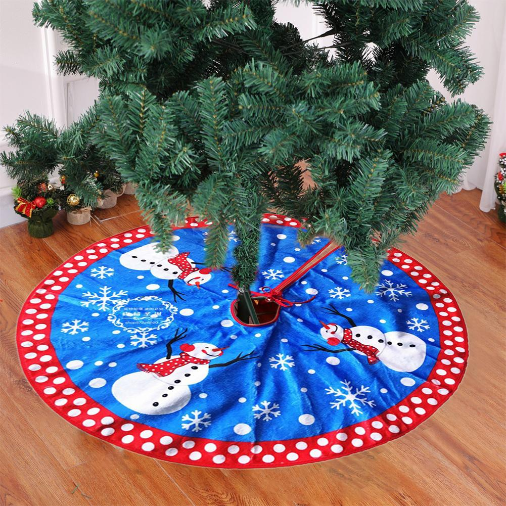 Blue New Christmas Snowman Tree Skirt Christmas Tree Apron High-grade Flannel  Decorations for Home Outdoor Decor