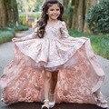 Dulce de Color Rosa Con Cuello En V Apliques Hi-lo de Chicas Vestidos Del Desfile con Mangas Largas Por Encima de La Rodilla Vestidos de Niña