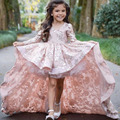 Sweet Pink V-Neck Appliques Hi-Lo Girls Pageant Dresses with Long Sleeves Above Knee Flower Girl Dresses