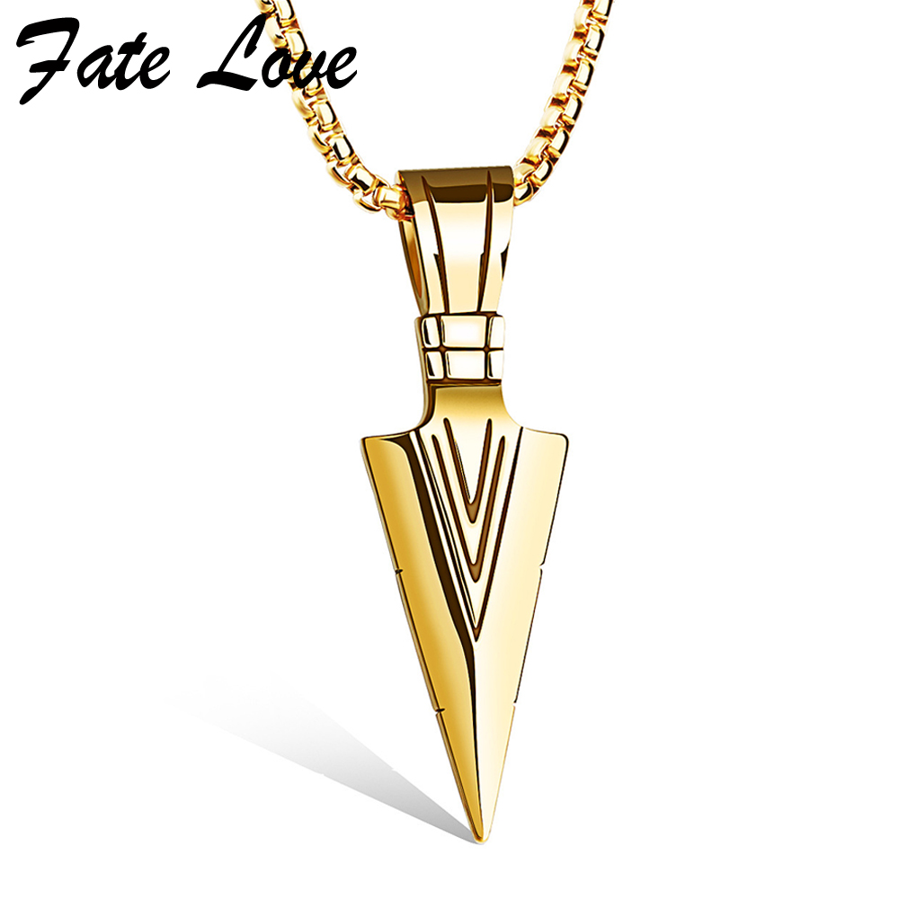 Colar masculino arrow pendants necklaces gold plated for Stainless steel jewelry necklace