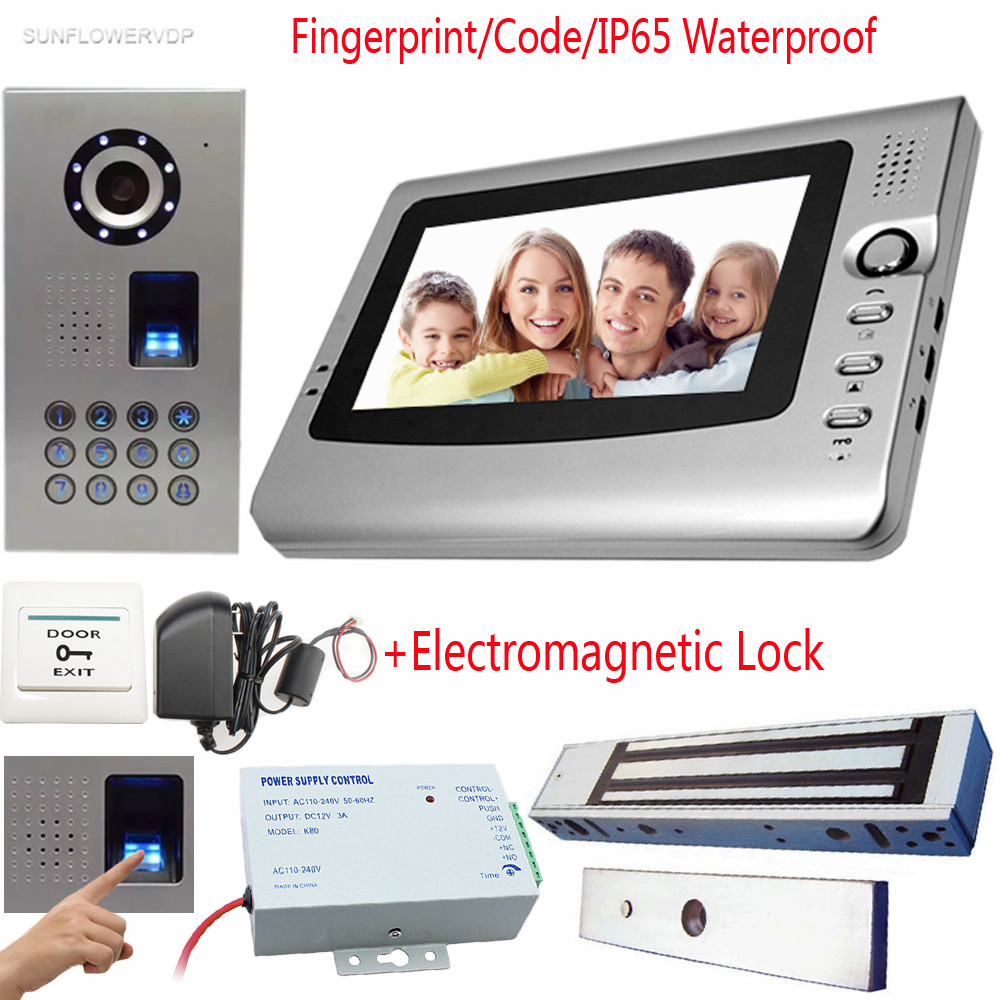 Video Intercom For A Private House Fingperint Keyboard IP65 Waterproof CCD Camera  Video Door Phone And Screen 7Color+Door Lock a private view