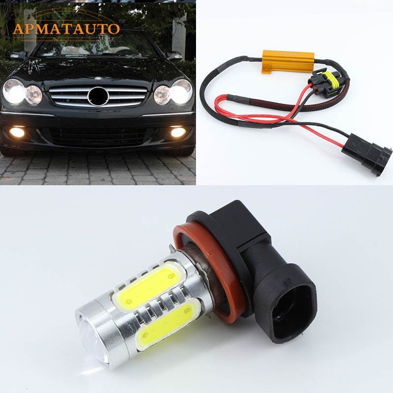 2 x H11 H8 Bulb 6000K White for CREE Chips Car LED Projector Fog Light DRL 11W No Error For Mercedes W211 W212 W164 W221 2x bright error free h8 h11 led projector fog light bulb for citroen c2 c4 c4l c5 triumph