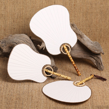Free Shipping 2pcs/lot High Quality Pure White Chinese Ancient Zen Bamboo Rhizome Cooked Xuan Paper Fan Craft Home Decoration