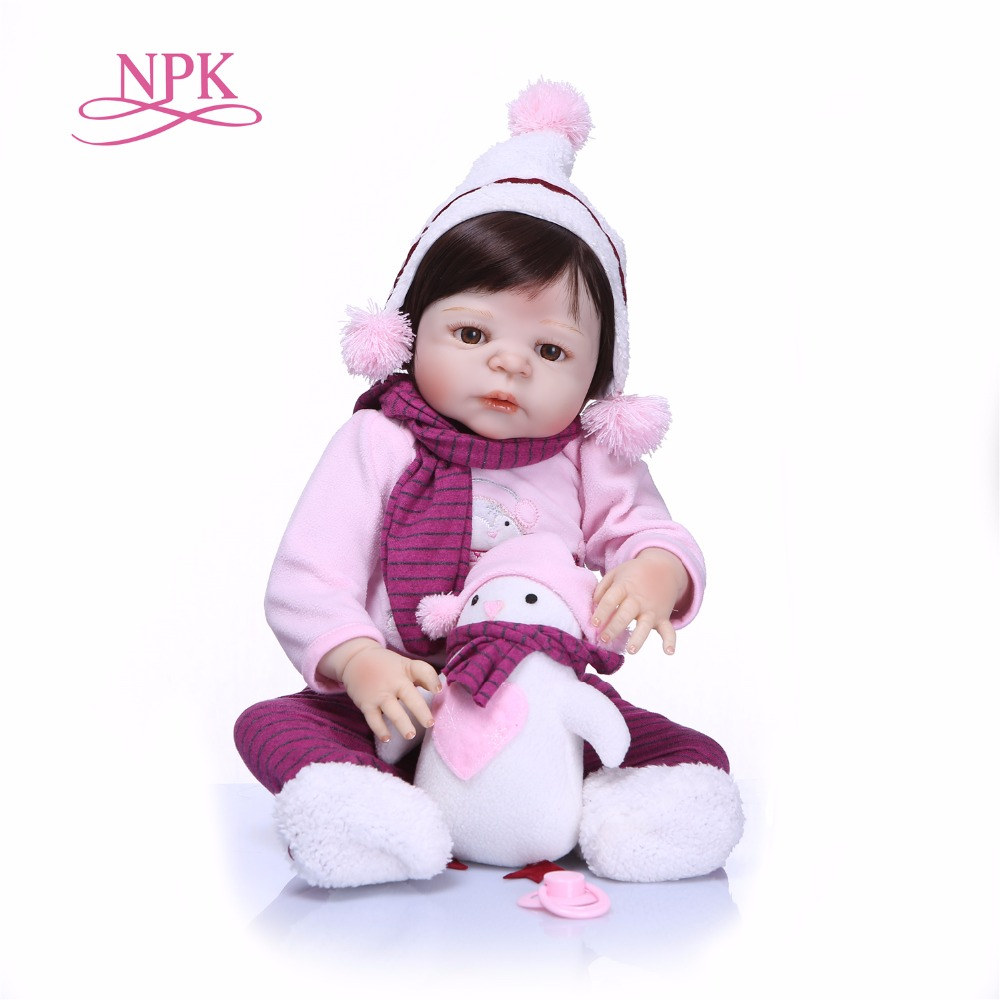 Npk 55cm 전체 실리콘 reborn 베이비 인형 kids playmate gift for girls 부드러운 장난감 부케 인형 bebe reborn toys-에서인형부터 완구 & 취미 의  그룹 1