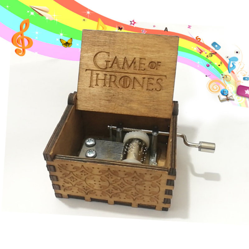 Harry Potter Wooden Hand Crank For Kids Antique Carved Star Wars Music Box Theme Music Game Thrones