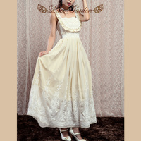 Full Lolita Lace Garden with Sleeveless Design and Floral Pad At the Front