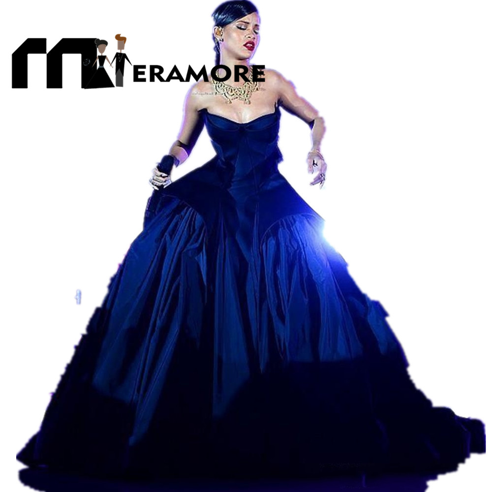 New Rihanna Ball Gown Dark Navy Celebrity Formal 2016 Evening ...