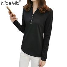 hot deal buy nicemix plus size long sleeve tops women casual cotton t-shirt tumblr t shirt women sexy v-neck harajuku women tops tees