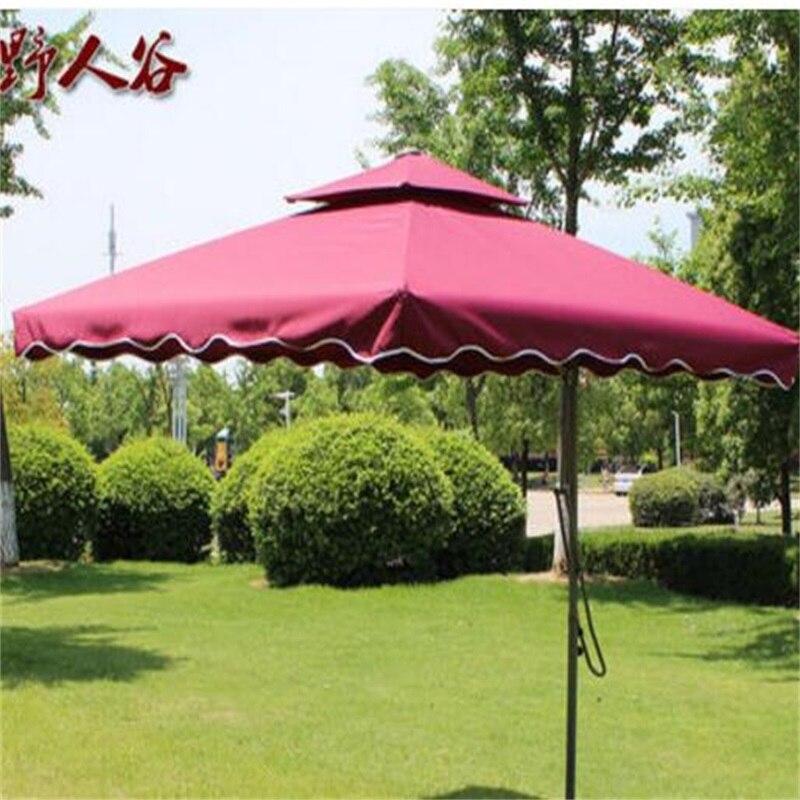 2.2 M diamètre Carré D'été En Plein Air Tente Parapluie Garde Post Pliage Parapluie Portable Plage Soleil Parapluie