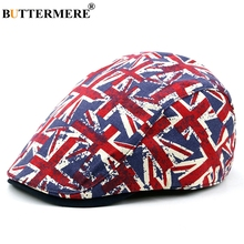 BUTTERMERE Navy Blue Flat Cap For Men Cotton Casual Beret Women Flag Printed Duckbill Ivy Caps Male Classic Autumn Directors Hat