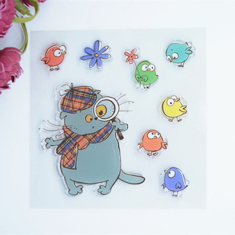 CS607 New Scrapbook DIY Photo Album Cards Transparent Acrylic Silicone Rubber Clear Stamps Sheet Color Cat Fish 10.5x10.5cm
