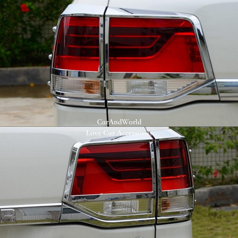 Chrome Tail Rear Light Cover Trim 4pcs for Toyota Land Cruiser LC200 2008-2015