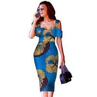 African Dresses for Women Slim Mid Calf Evening Dresses African Print Dresses Notched Neck Ankara Dresses