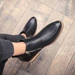 Кожа модные классические Бизнес офисные формальные ботильоны Мужская обувь мужской Повседневное ручной работы круглый HH-912