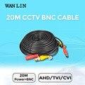 Wan lin cable coaxial 20 m 65ft dc cable de alimentación de vídeo bnc 20 m para cvi analog ahd cctv cámara de vigilancia dvr kit de accesorios