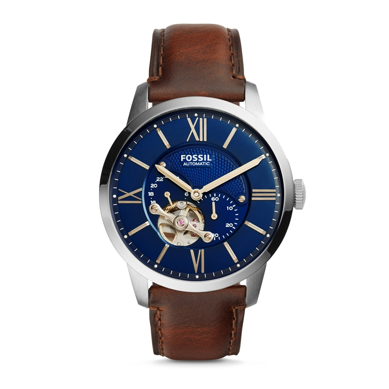 FOSSIL Townsman Automatic Watch Men Stainless Steel Watch with Brown Leather Strap ME3110