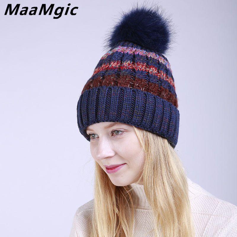 Wholesale 2017 New Fashion Pom Poms Winter Hat for Women Fashion Warm Hats Knitted   Skullies     Beanies   Girl Cap Brand Female Cap