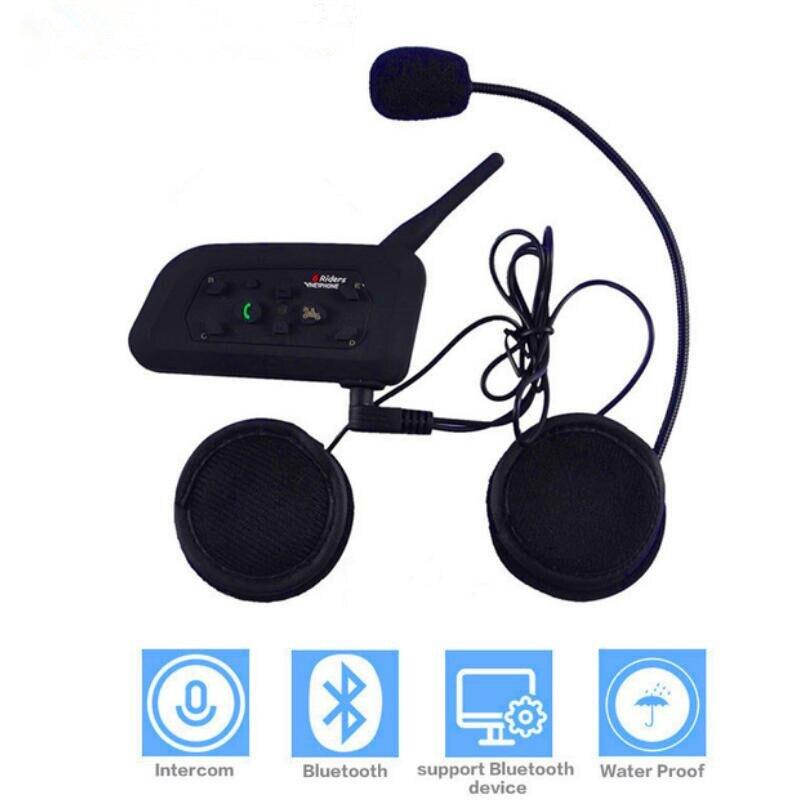 V6 Motorcycle Bluetooth Helmet Intercom Headset 1200M Motorbike Wireless BT Interphone For 6 Riders Intercomunicador