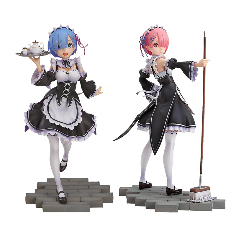HEYZO 22cm Re Life in a different world from Zero Rem Ram re zero PVC Anime figure Toys For Kids children gifts