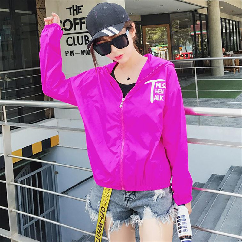 summer UV long-sleeved hooded thin jacket vacation loose beach sun protection clothing 10 color female jacket Korean version