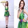 2016 Women Dress For Halloween Costumes Green Elf Dress TinkerBell Princess Cosplay Costume Flower Fairy Princess Queen Costumes