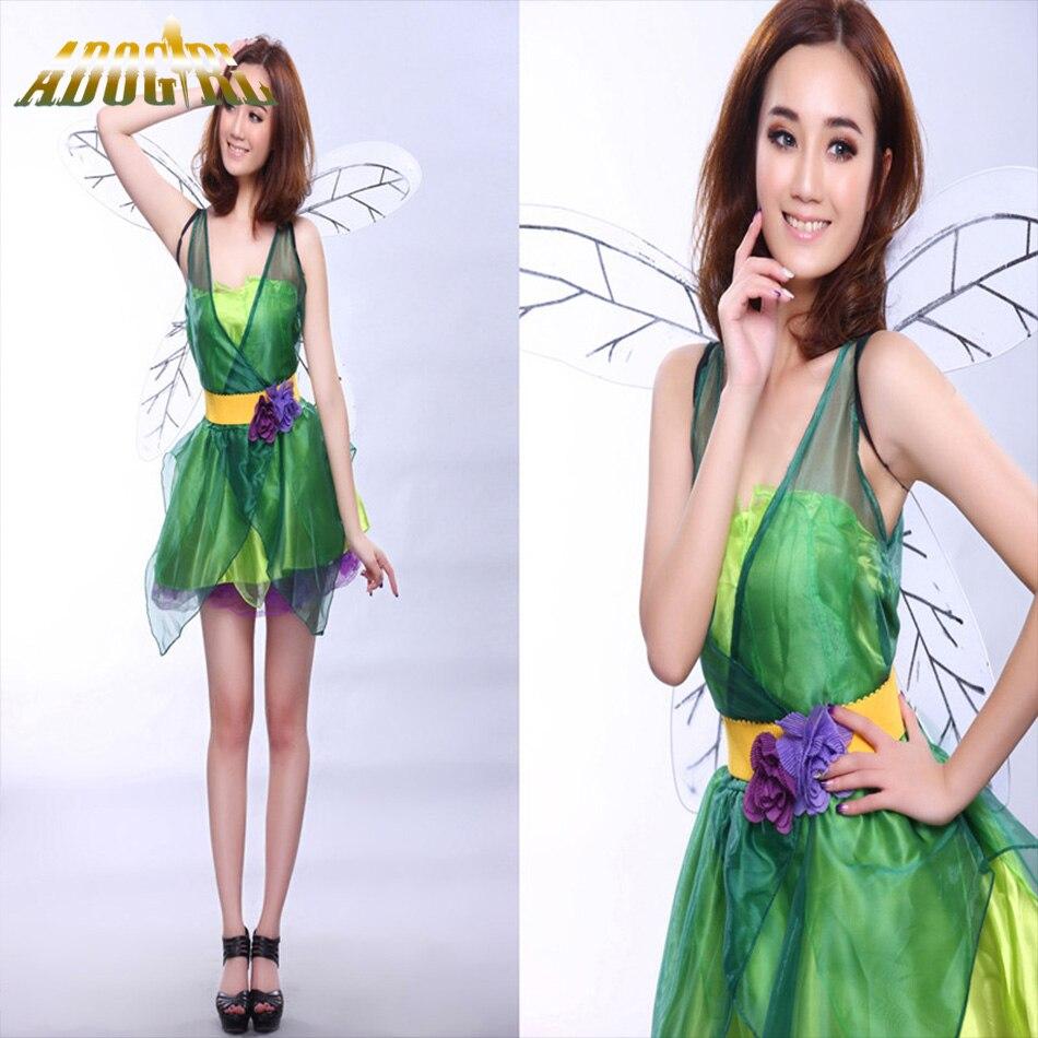 2016 women dress for halloween costumes green elf dress tinkerbell princess cosplay costume flower fairy princess - Green Fairy Halloween Costume